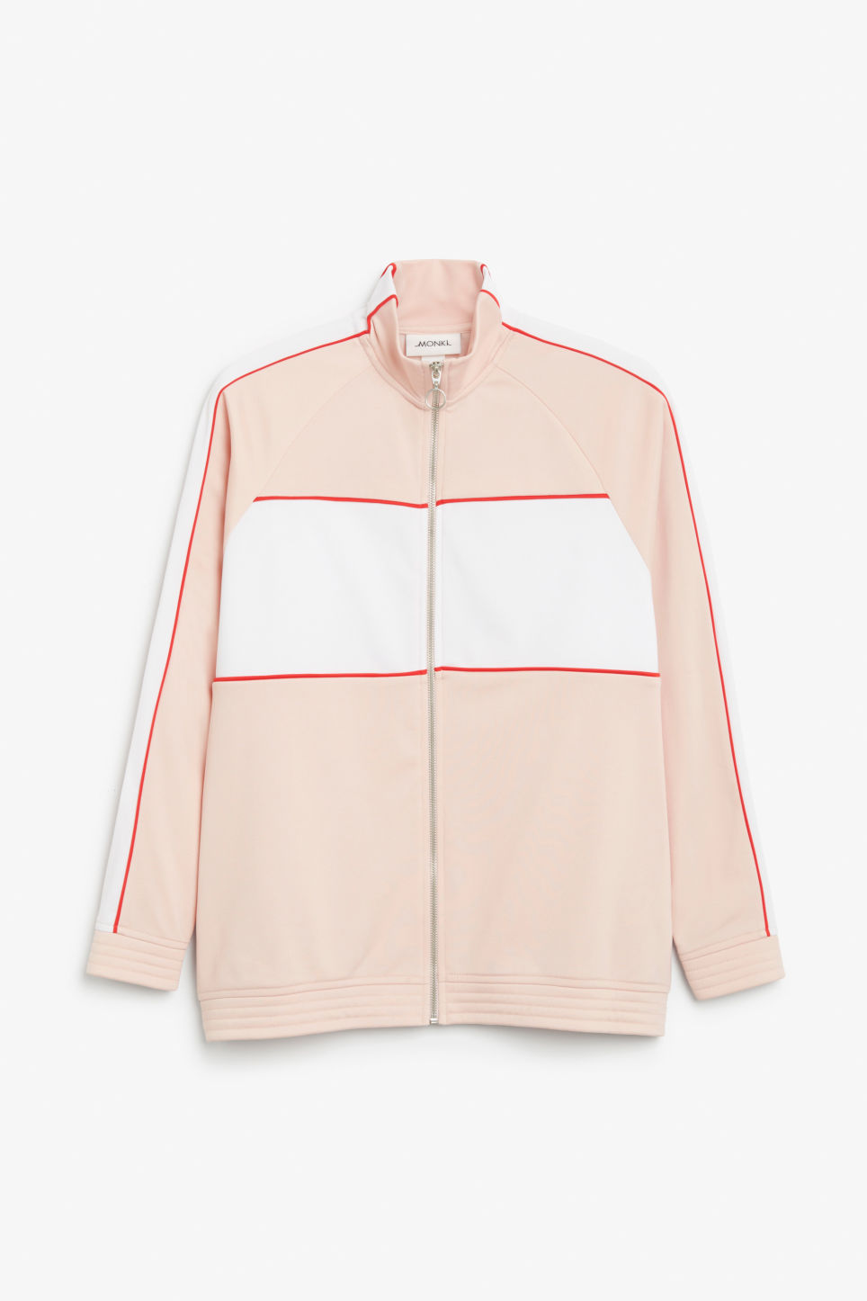 Front image of Monki sporty zip jacket in orange