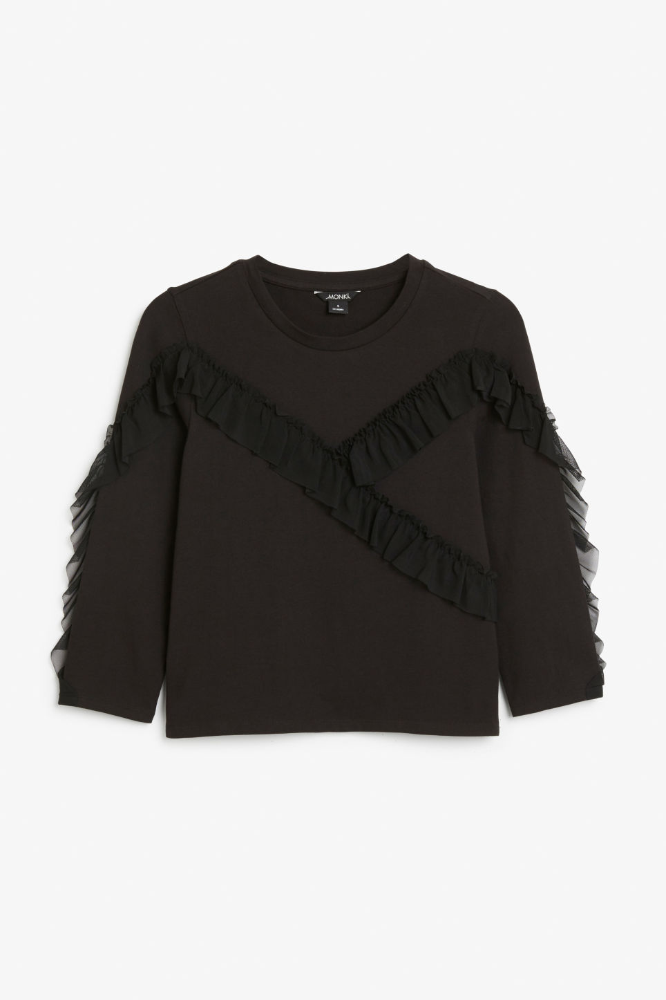 Front image of Monki mesh ruffle tee in black