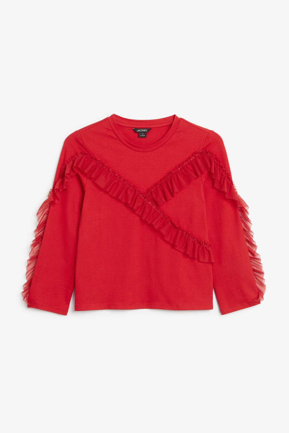 Front image of Monki mesh ruffle tee in red