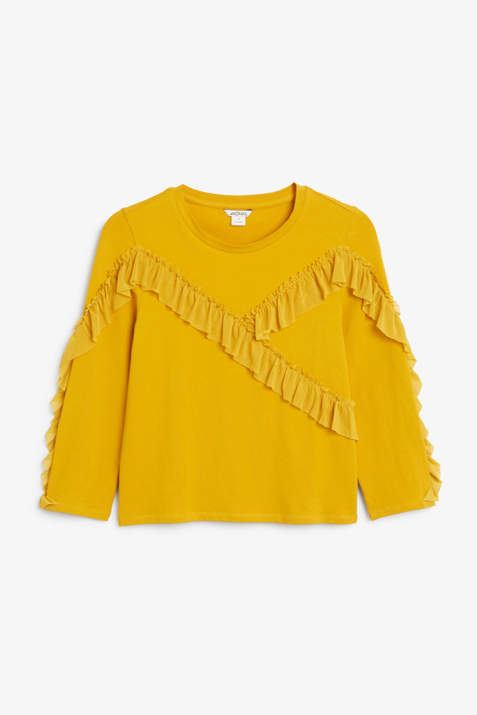 Front image of Monki mesh ruffle tee in yellow