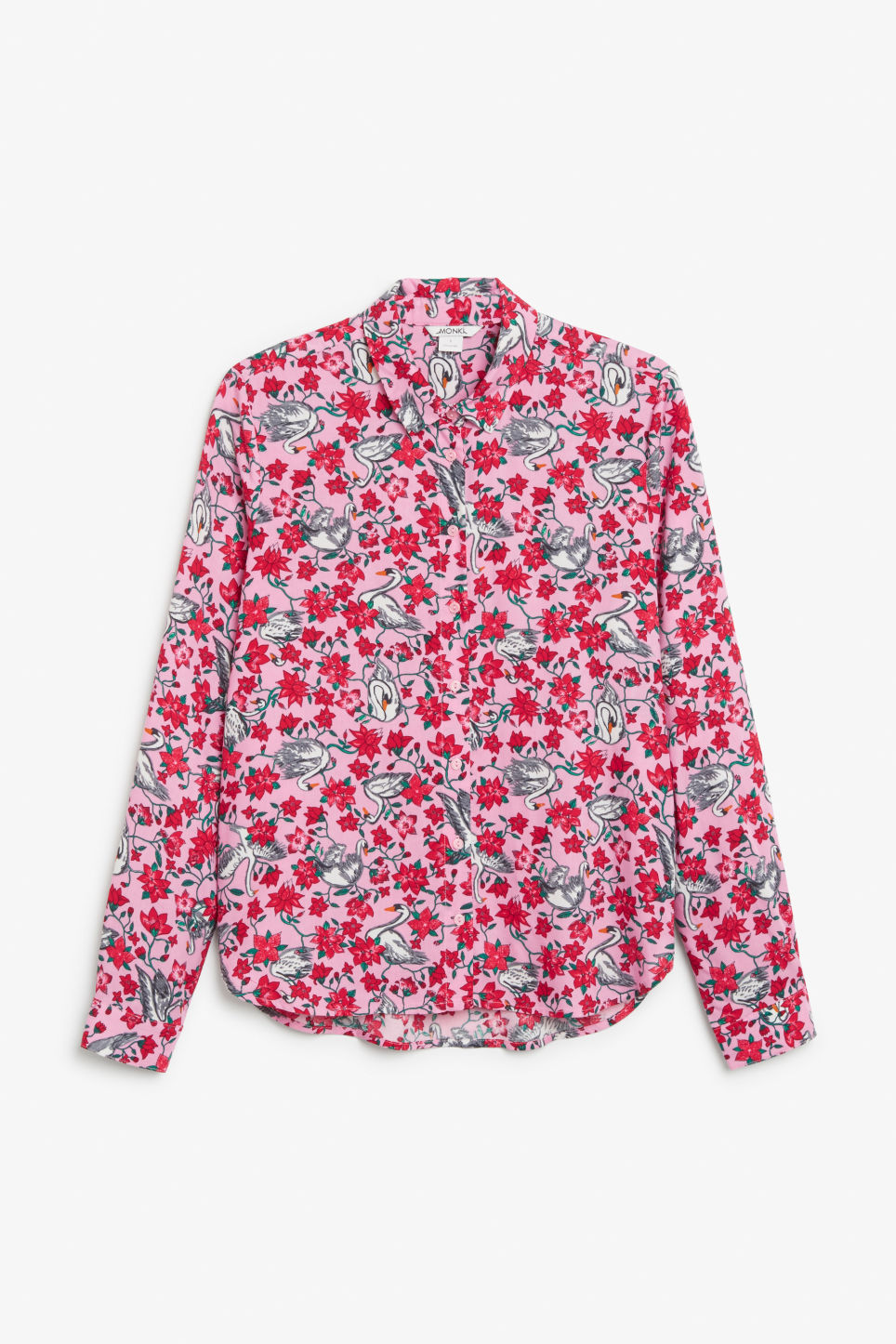 Front image of Monki soft button up blouse in pink