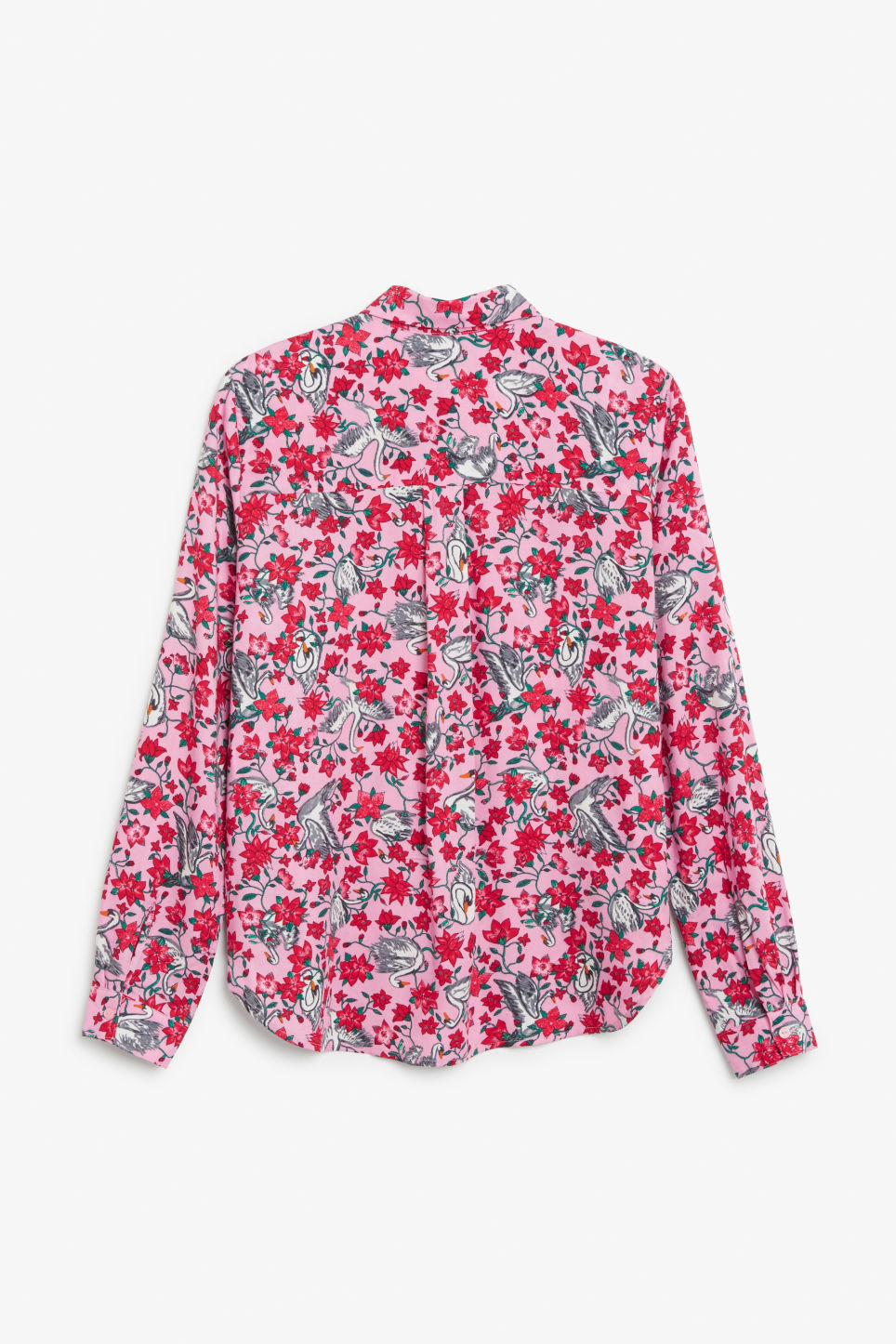 Back image of Monki soft button up blouse in pink