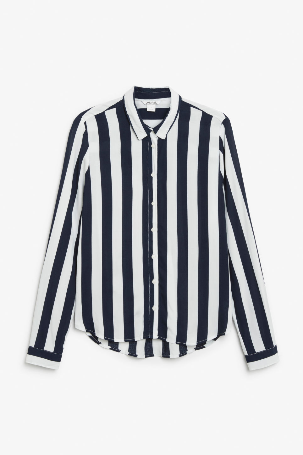 Front image of Monki soft button up blouse in white