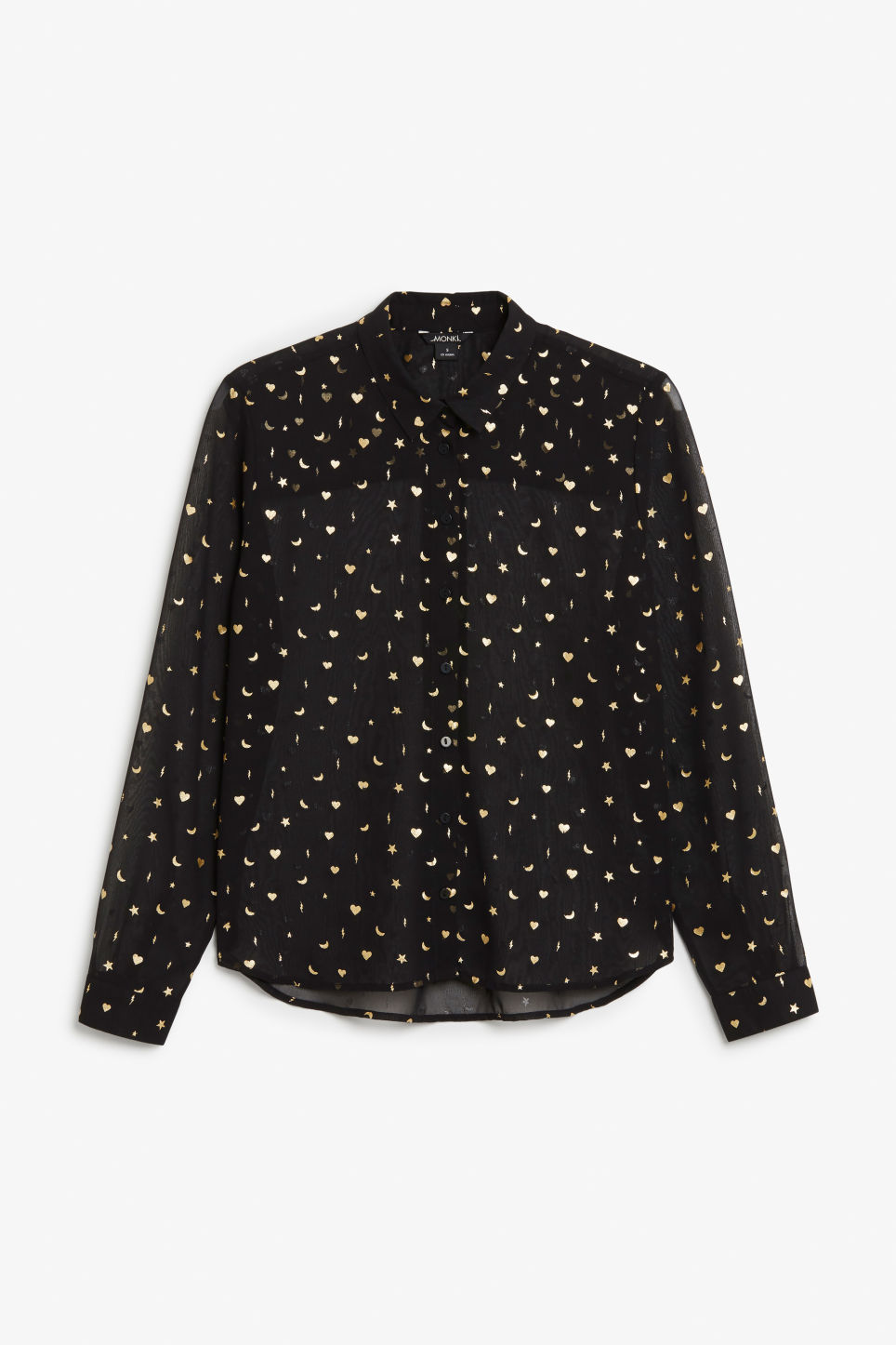 Front image of Monki soft button up blouse in black