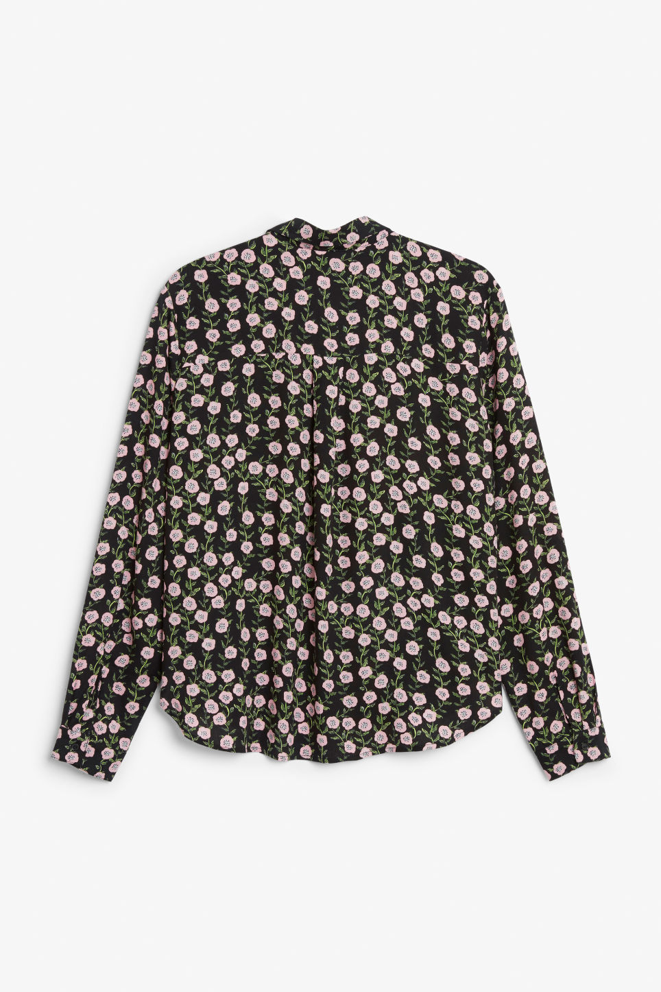 Back image of Monki soft button up blouse in black