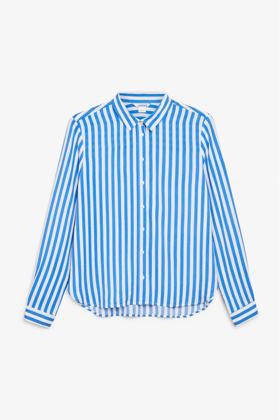 Front image of Monki soft button up blouse in blue