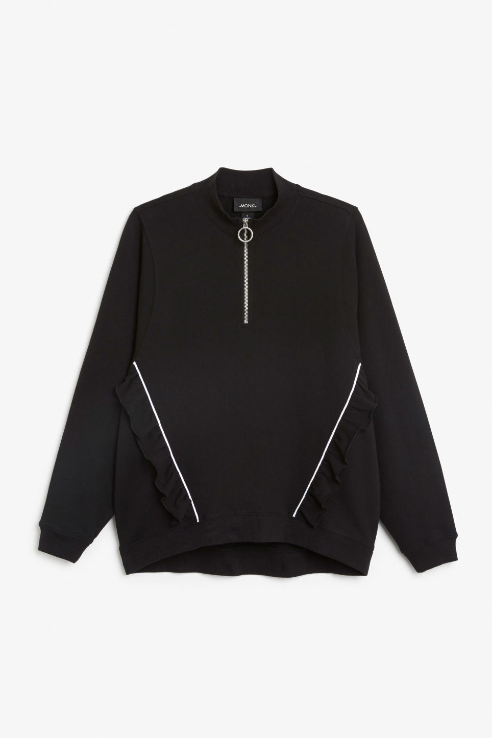 Front image of Monki zip ruffle jacket in black