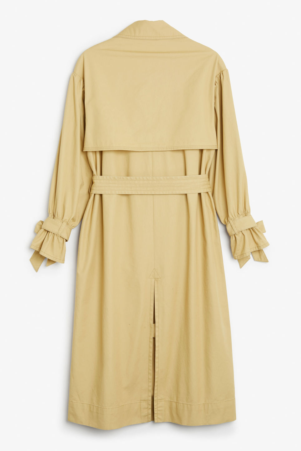 Back image of Monki classic trench coat in beige
