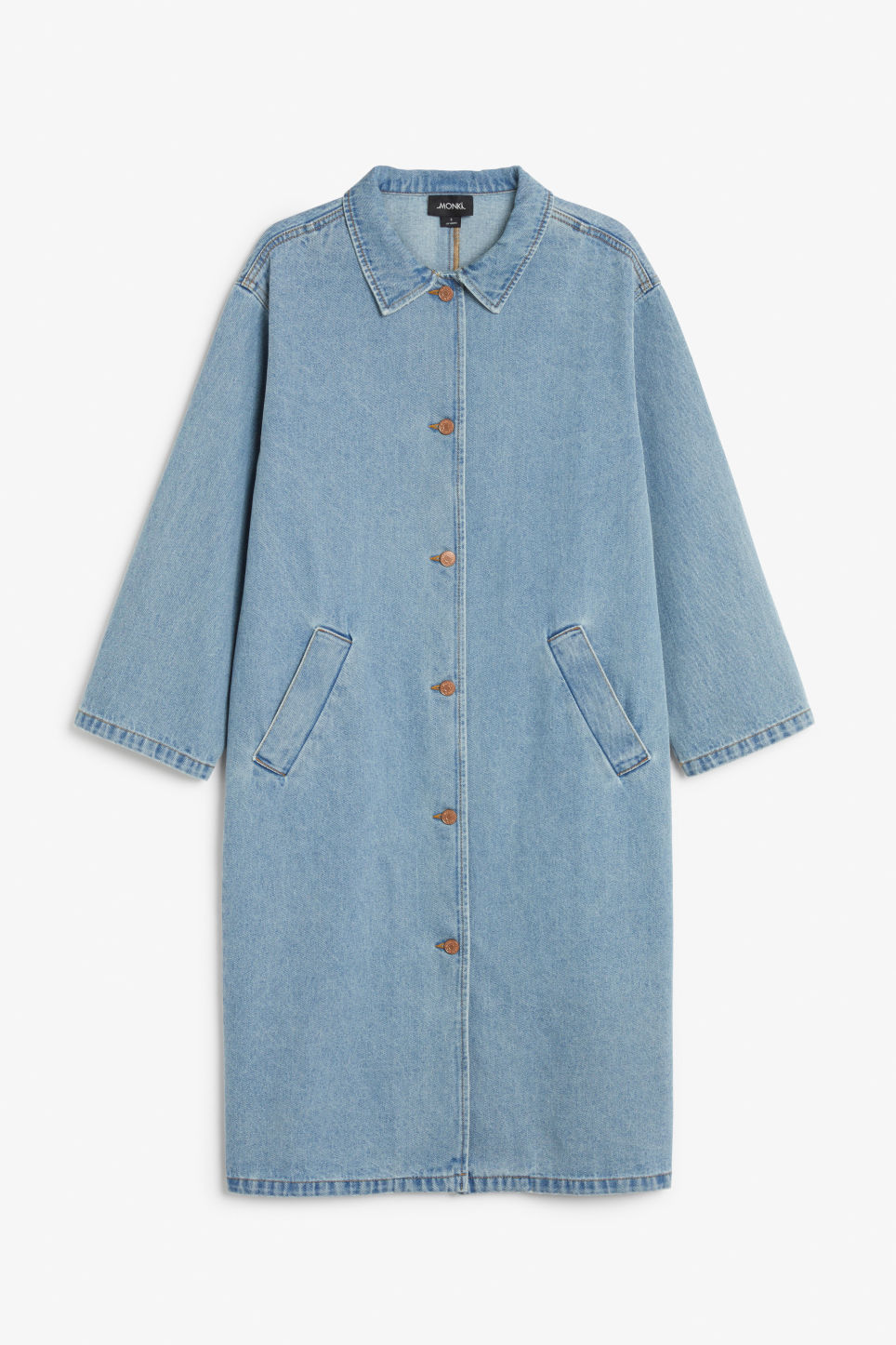 Front image of Monki denim coat in blue