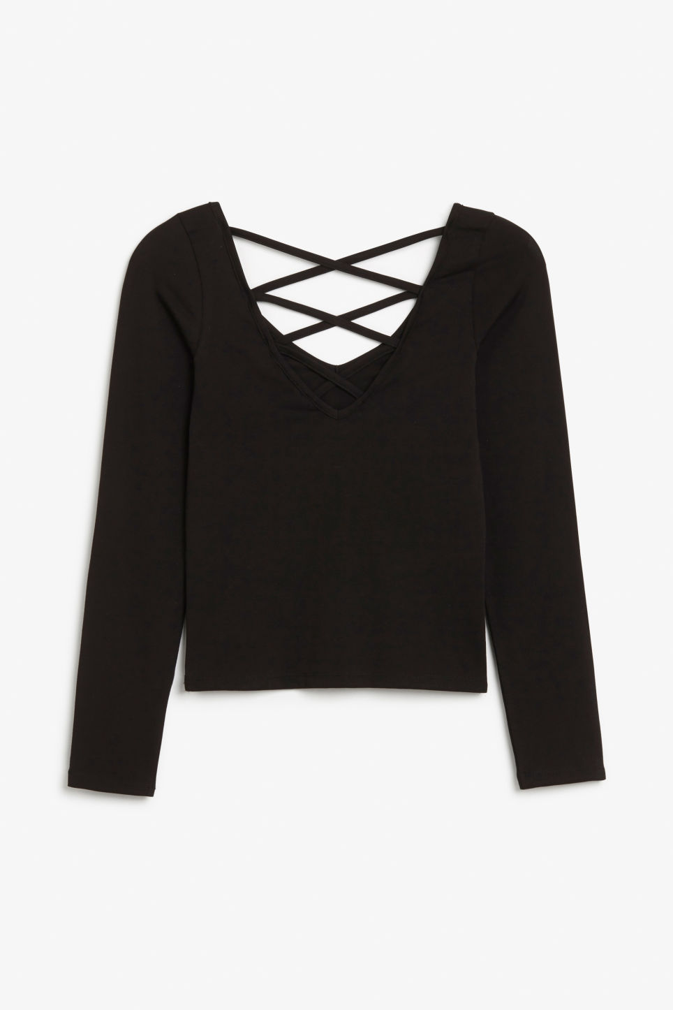 Front image of Monki v neck top in black