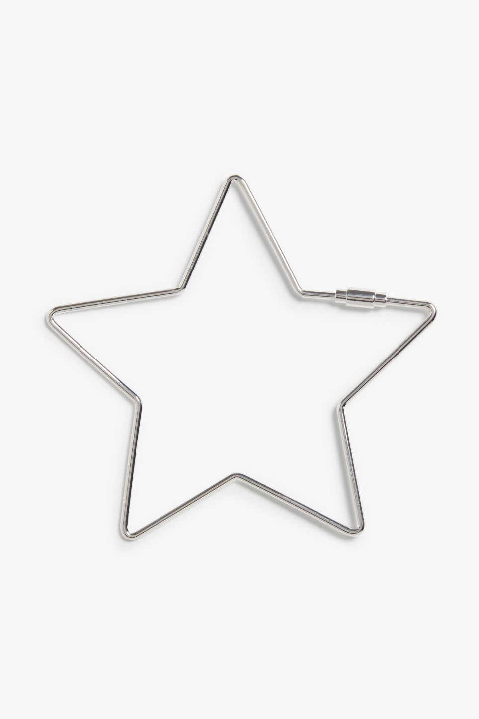 Front image of Monki star keyholder in silver