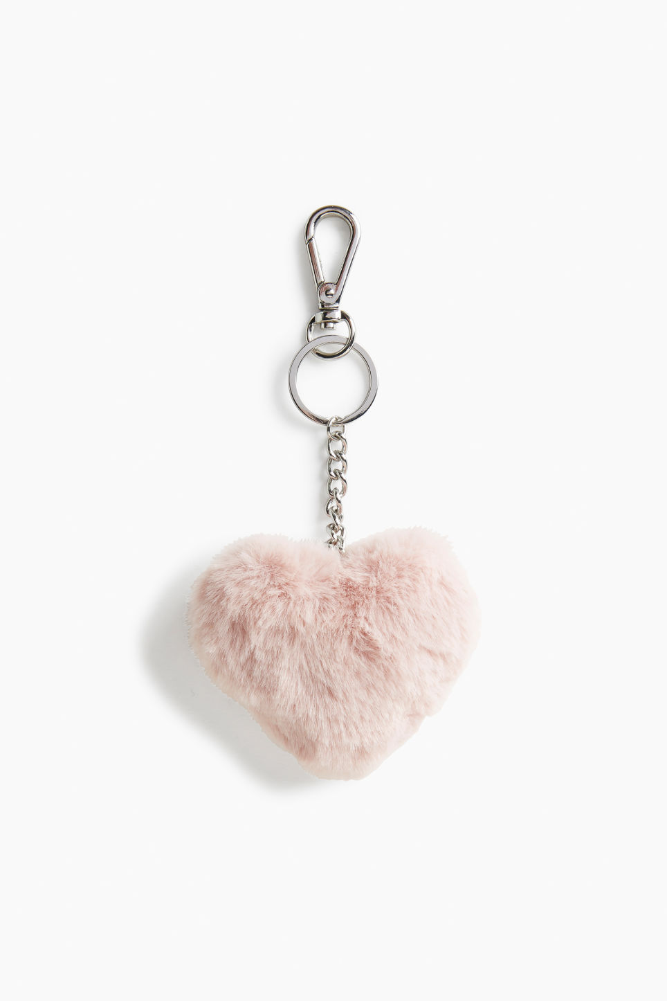 Front image of Monki fluffy keychain in pink