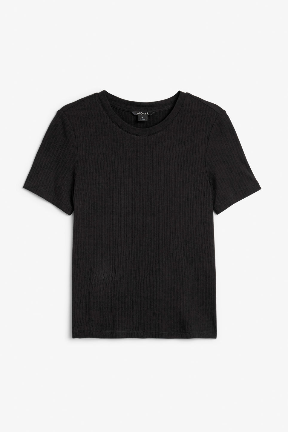 Front image of Monki ribbed tee in black