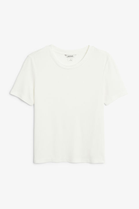 Front image of Monki ribbed tee in white