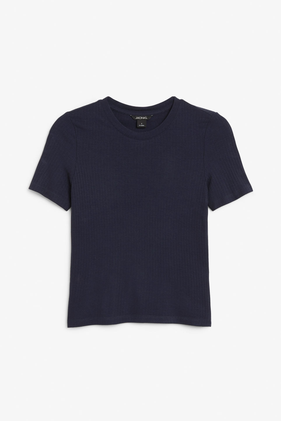 Front image of Monki ribbed tee in blue