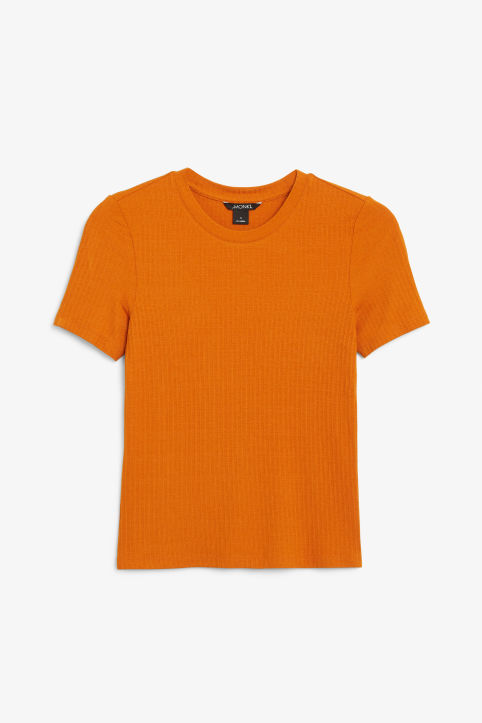 Front image of Monki ribbed tee in orange