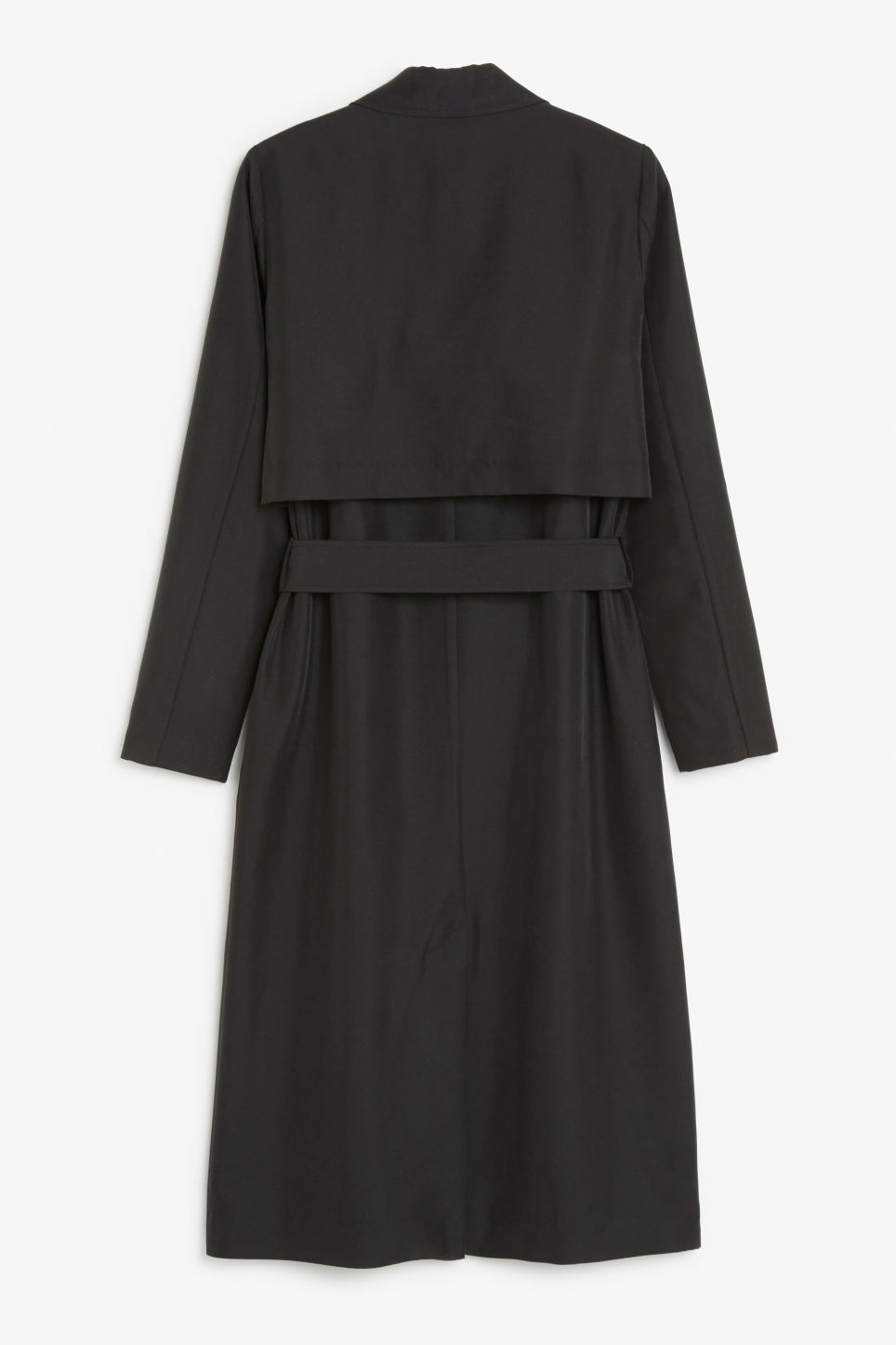 Back image of Monki twill trench coat in black