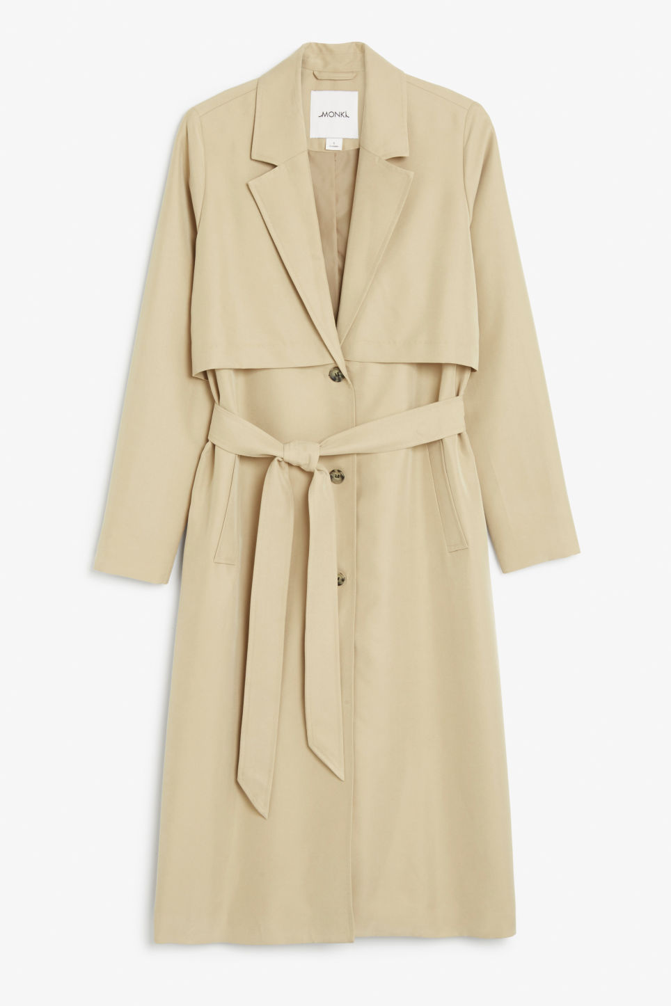 Front image of Monki twill trench coat in beige