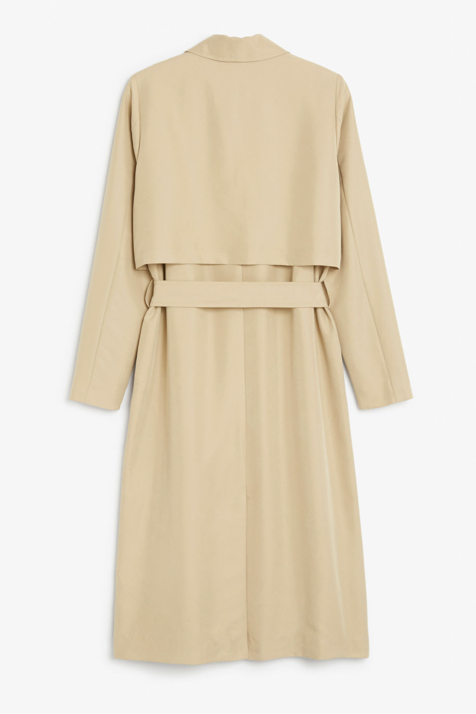 Back image of Monki twill trench coat in beige