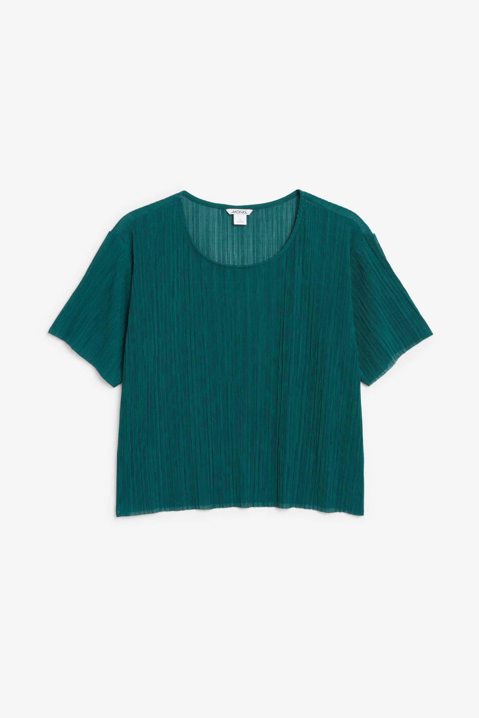 Front image of Monki pleaded top in green