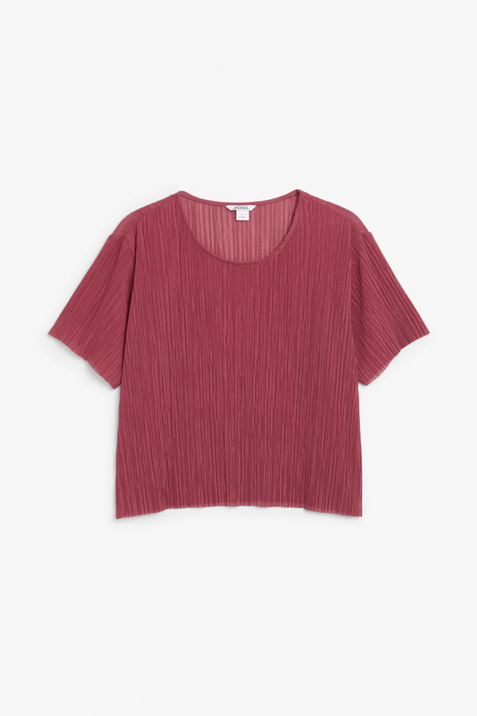 Front image of Monki pleaded top in pink