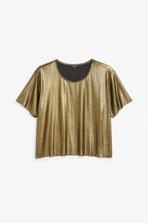 Front image of Monki pleaded top in gold