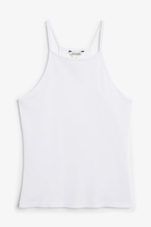 Front image of Monki cropped singlet in white
