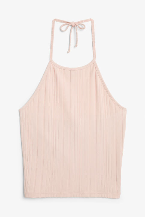 Front image of Monki ribbed halter top in pink