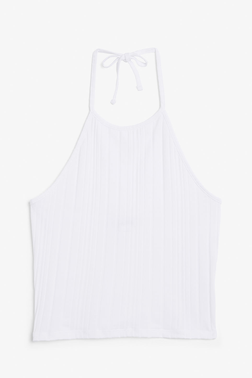 Front image of Monki ribbed halter top in white