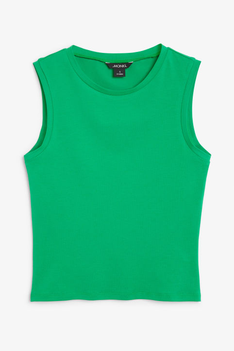 Front image of Monki stretchy singlet in green