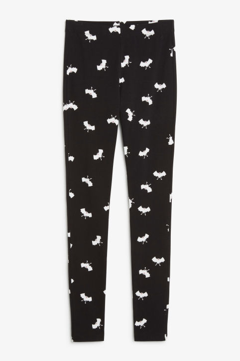 Front image of Monki statement leggings in black