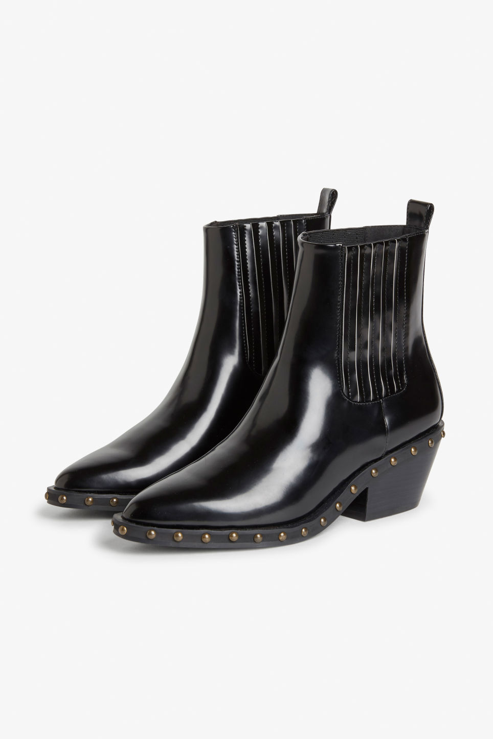 Front image of Monki studded cowboy boots in black