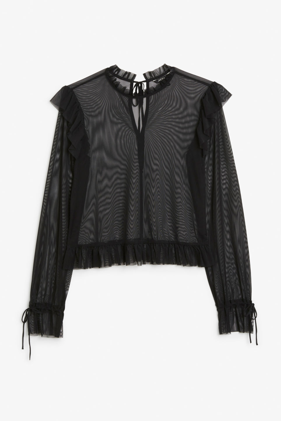Front image of Monki sheer ruffle blouse in black