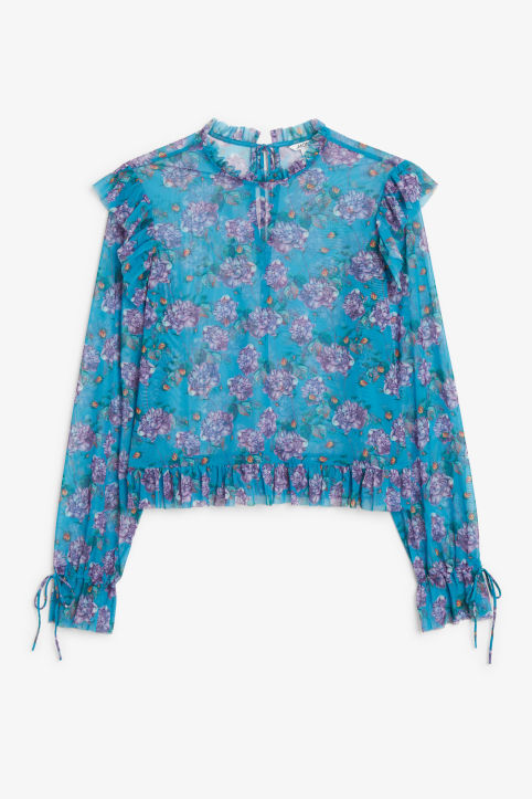 Front image of Monki sheer ruffle blouse in turquoise