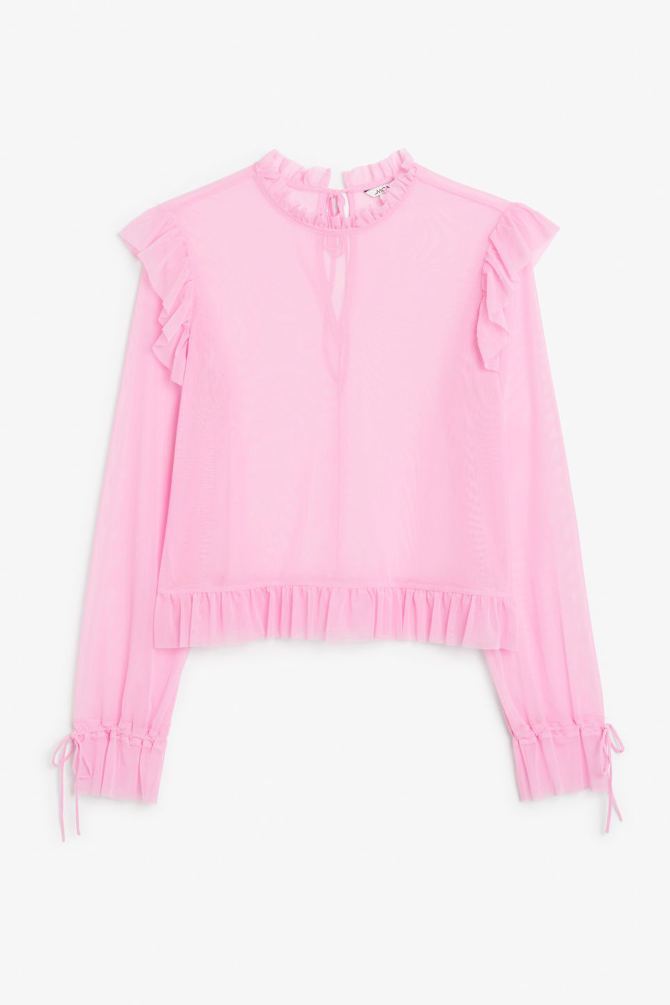 Front image of Monki sheer ruffle blouse in pink