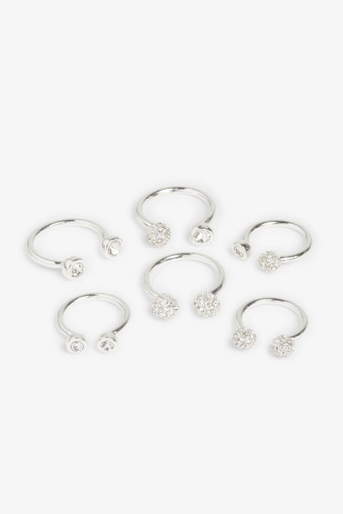 Pack of 6 open shape rings