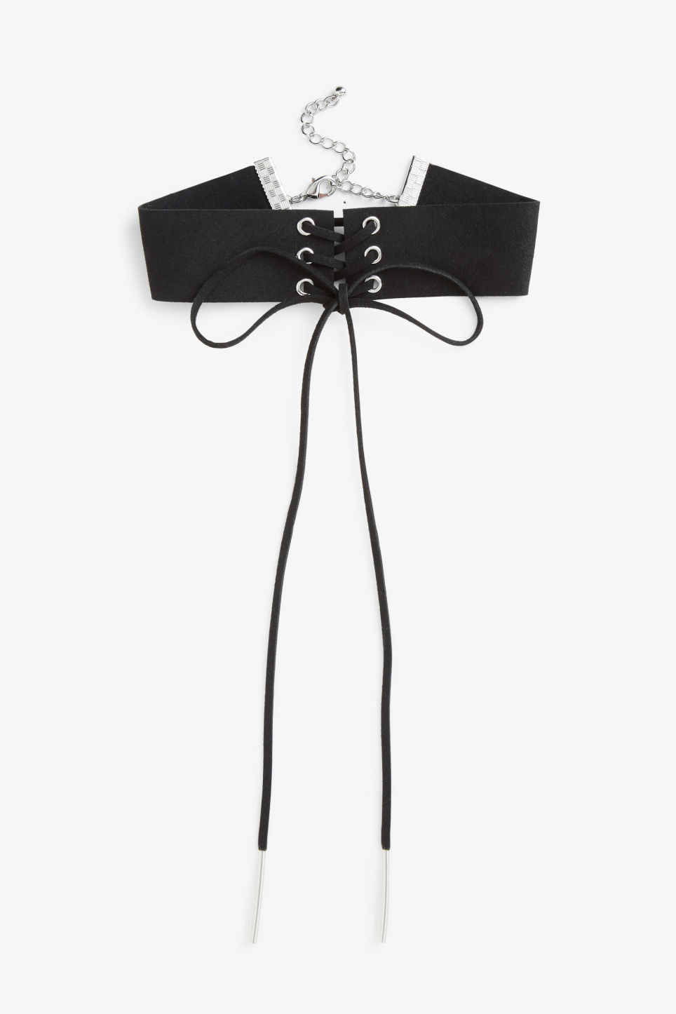 Front image of Monki lace up choker in black