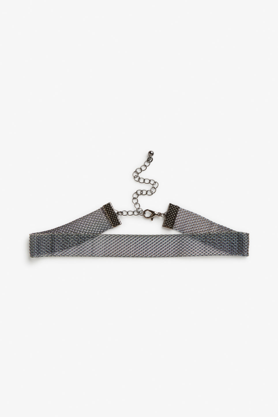 Front image of Monki iridescent mesh choker in silver
