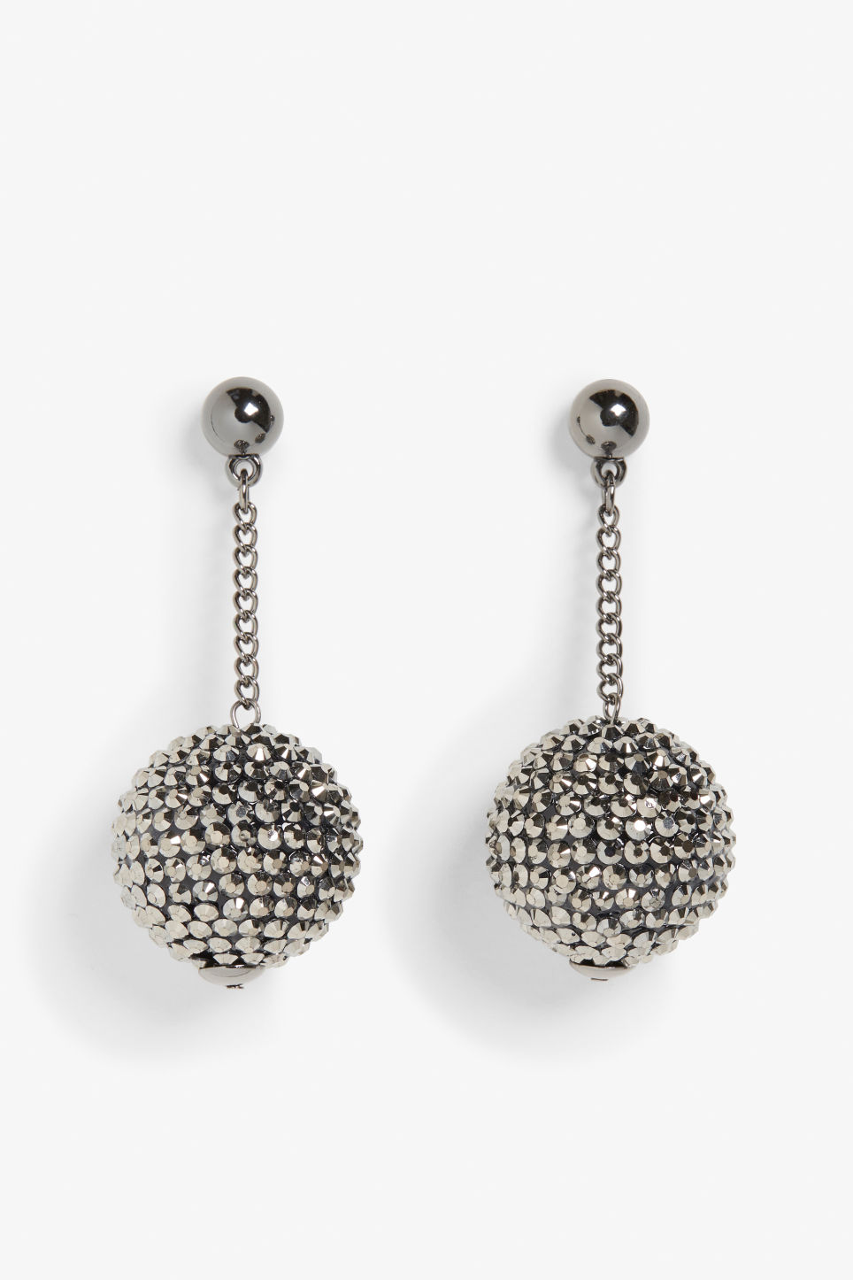 Front image of Monki disco ball earrings in silver