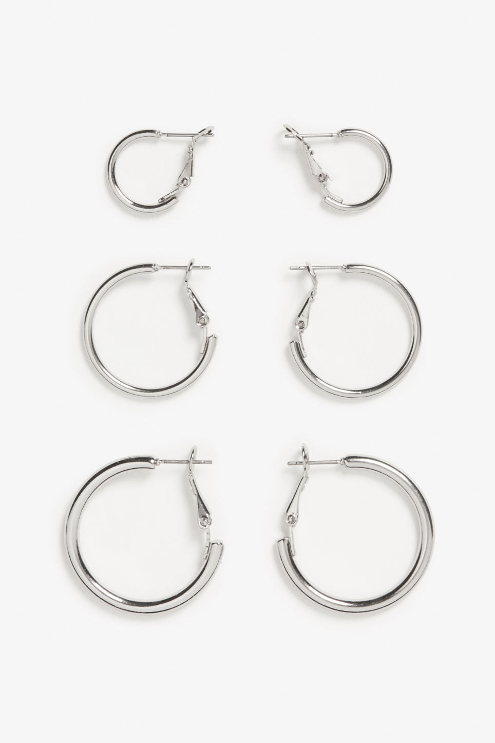 Front image of Monki assorted hoop earrings in silver