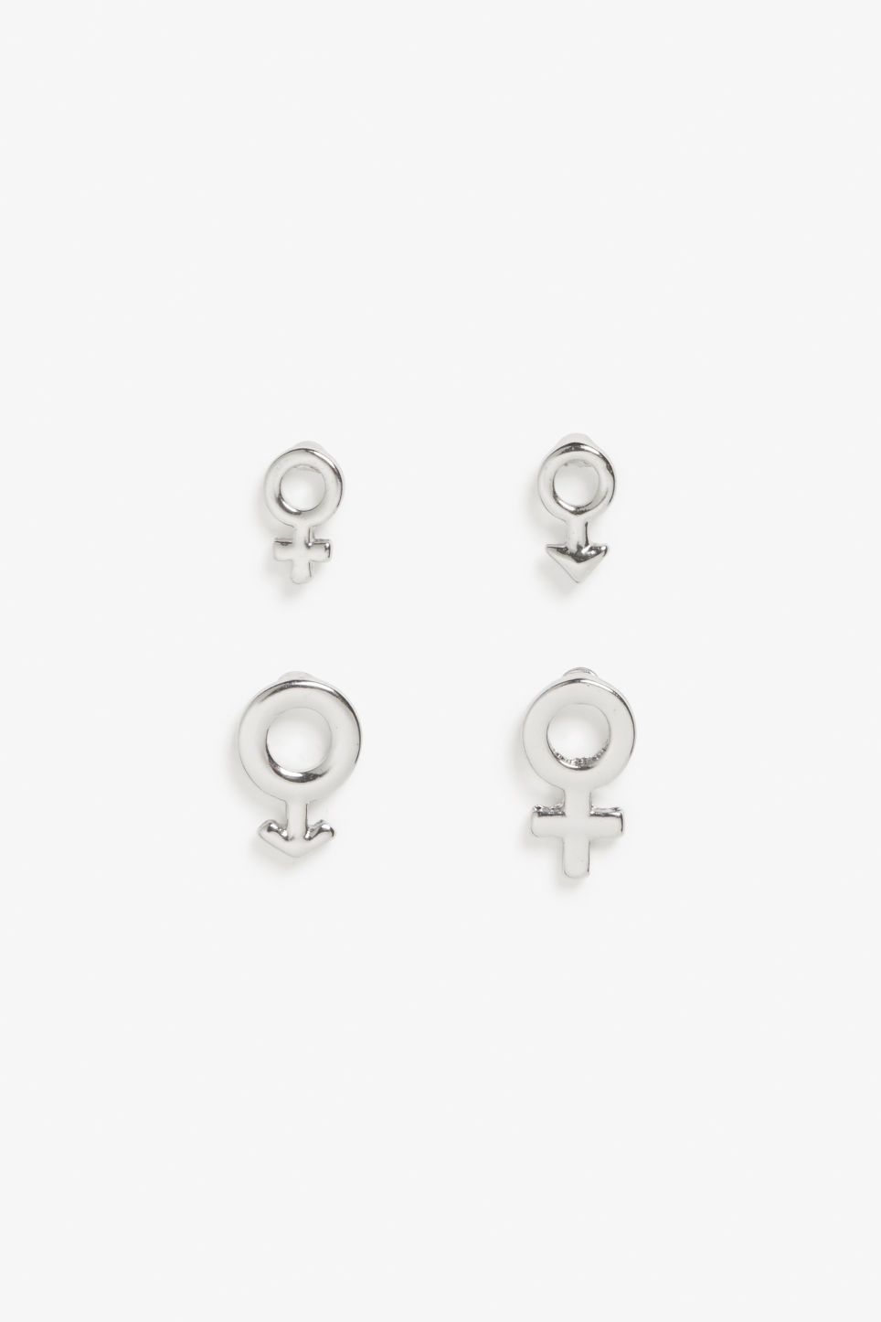 Front image of Monki multisize symbol studs in silver
