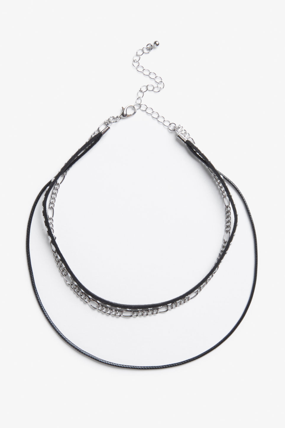 Front image of Monki triple choker with chain in silver