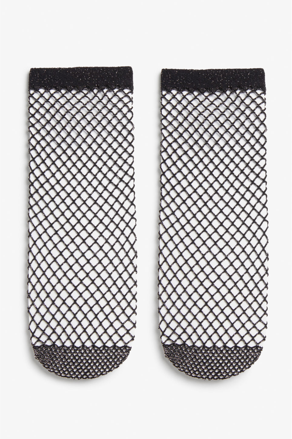 Front image of Monki fishnet lurex socks in black