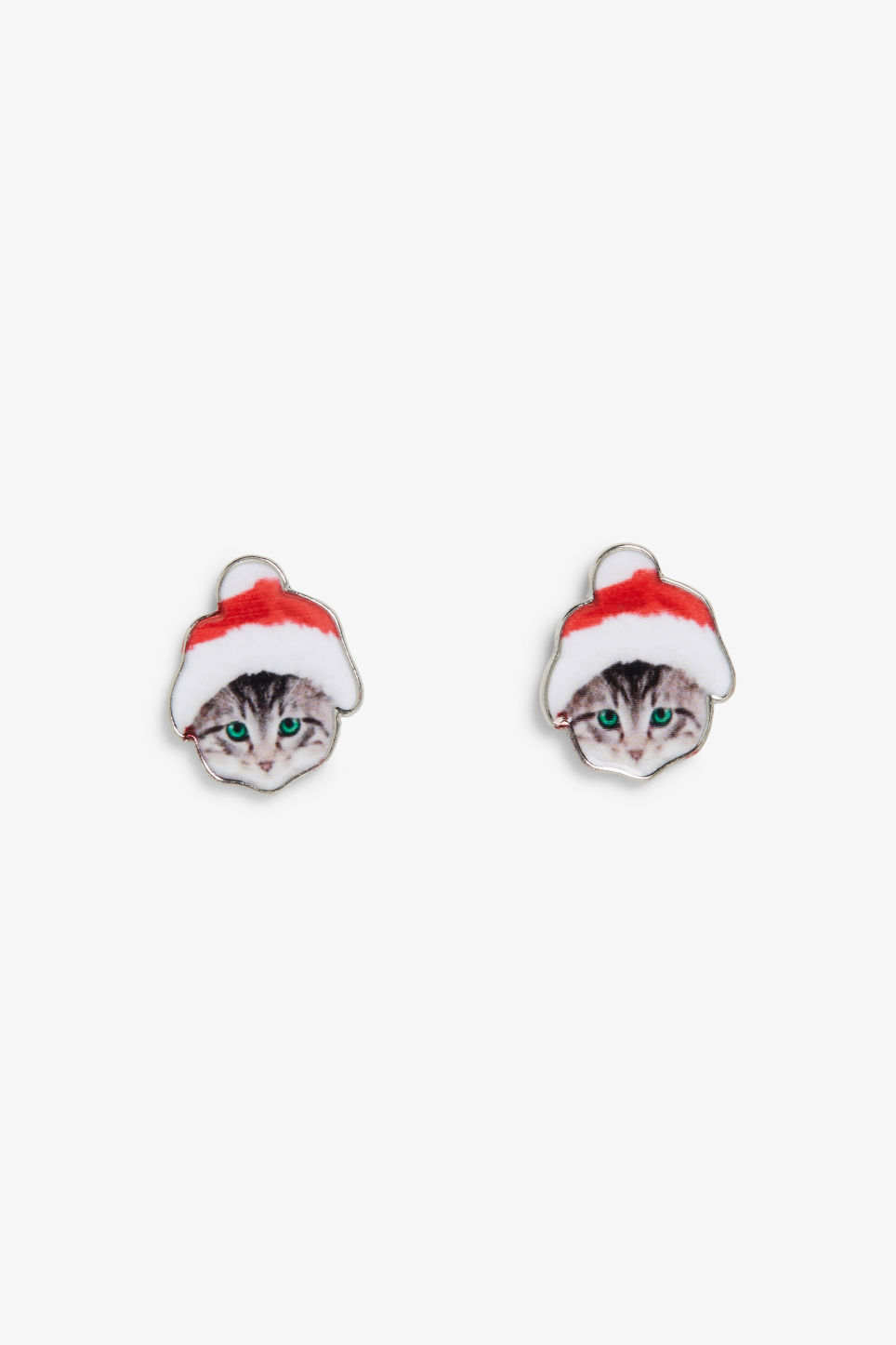 Front image of Monki x-mas kitten earrings in red