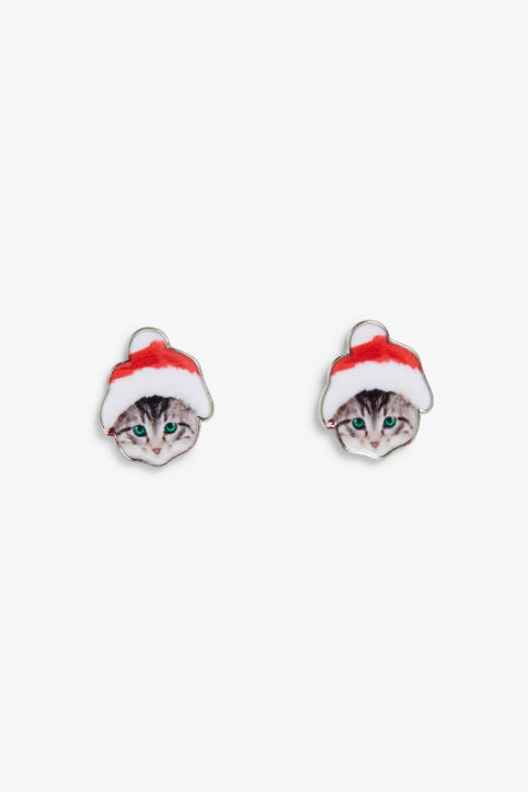 X-mas kitten earrings