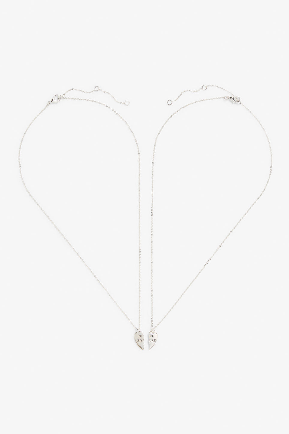Front image of Monki bff necklace in silver