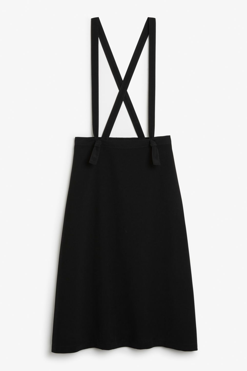 Front image of Monki long dungaree skirt in black