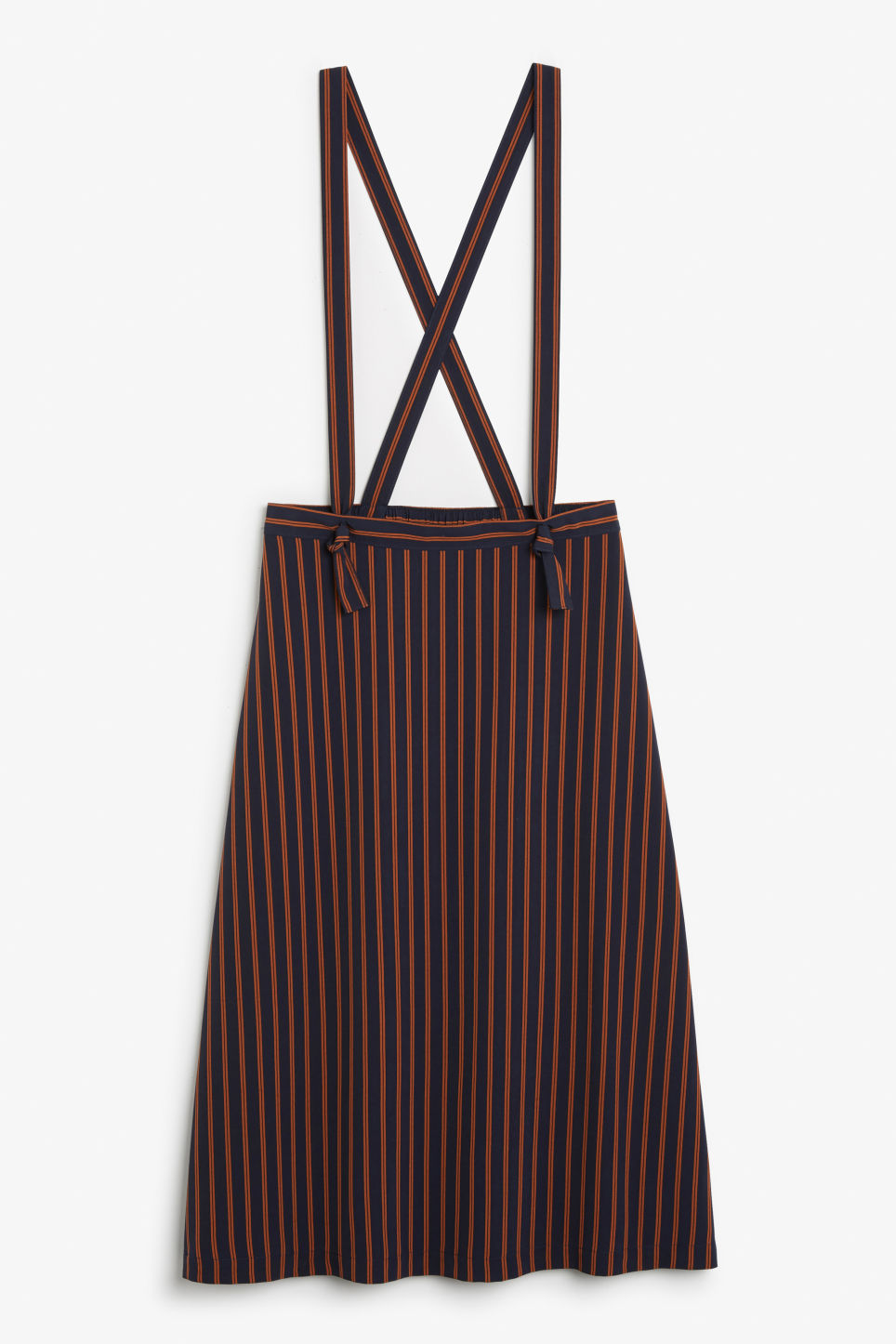 Front image of Monki long dungaree skirt in blue
