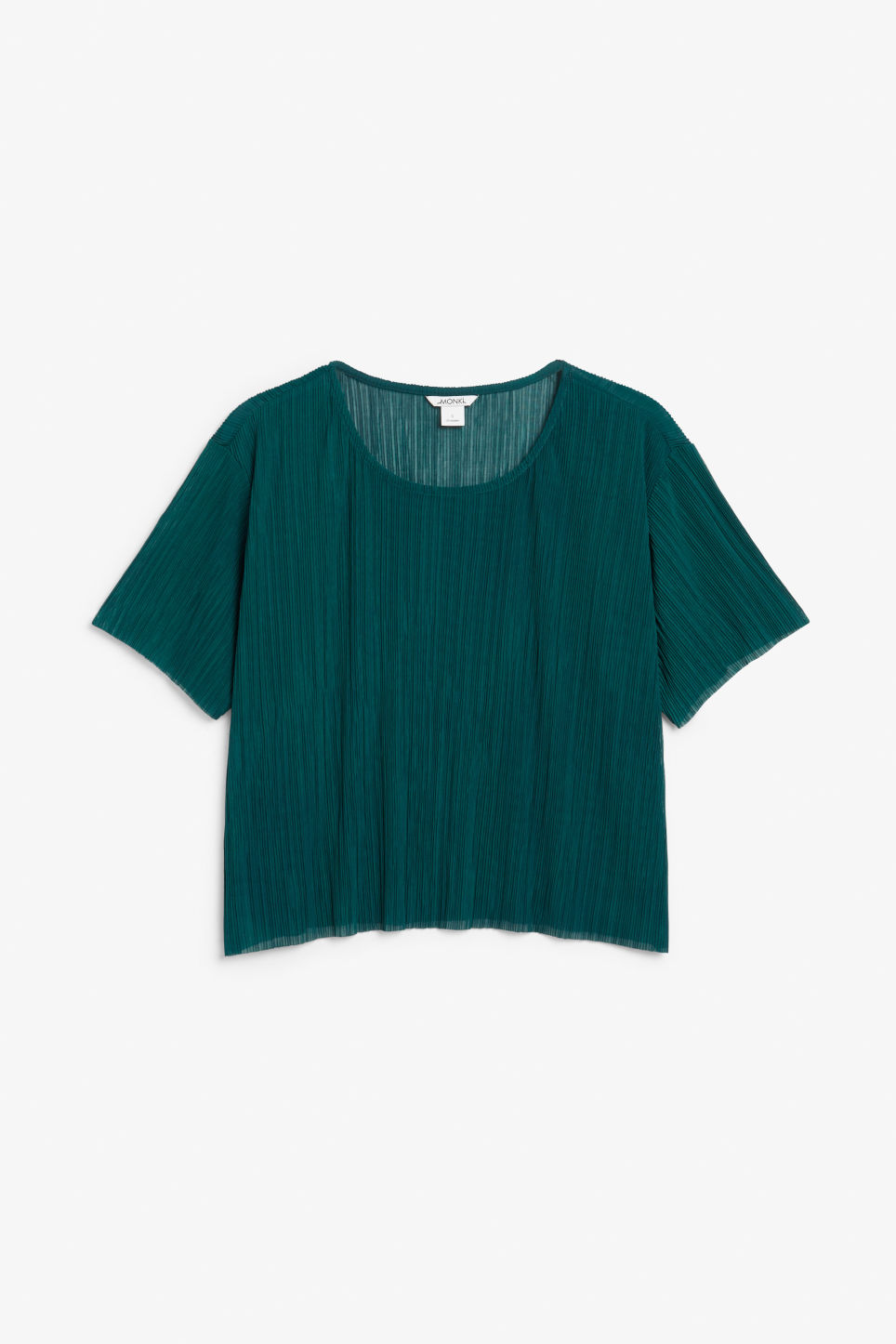 Front image of Monki pleated top in turquoise