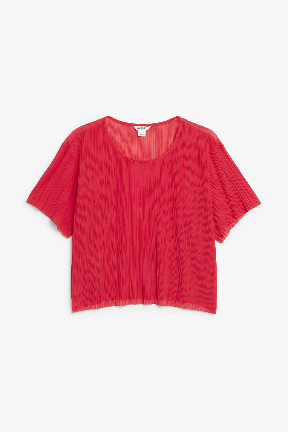 Front image of Monki pleated top in red